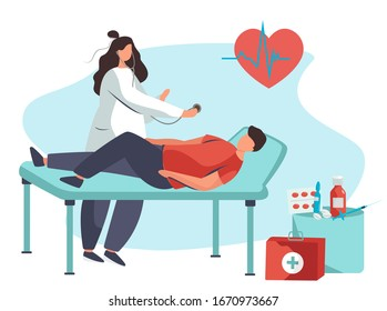 Doctor Listens Patient's Heart Beating  with Stethoscop.Medical Cardiology Worker Emergency.Cardiogram on background.Man Lying on Couch and Nurse or Doctor Checking Up his Heart.Vector Illustration