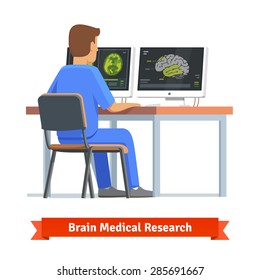 Doctor looking at results of MRI brain scan on a computer screens. Medical research and diagnosis. Flat vector illustration.