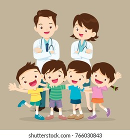 Doctor and lovely kids.Doctor man,woman and child Hugging be Happy.