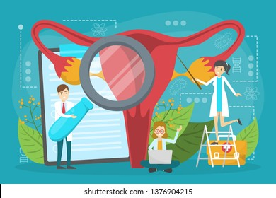 Doctor make uterus examination concept. Gynecology and female health. Human anatomy, ovary and womb. Medical treatment. Isolated vector illustration in cartoon style