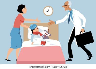 Doctor making a house call to a sick child, a mother greeting him, EPS 8 vector illustration
