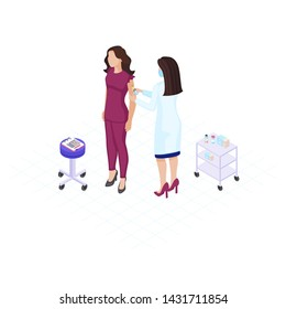 Doctor making vaccine flat color vector illustration. Annual vaccination, immunisation. Physician giving injection to female patient arm 3d concept. Syringe and vial. Medicine and health
