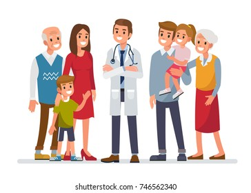 Doctor man with big family. Flat style vector illustration isolated on white background.