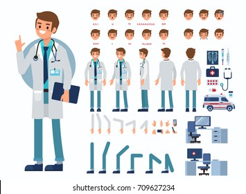 Doctor man character constructor and medical objects for animation.  Set of various men's poses, faces, mouth, hands, legs. Flat style vector illustration isolated on white background.