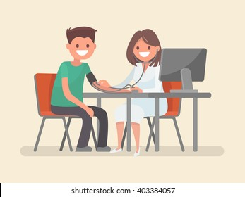 Doctor measures the blood pressure patient. Vector illustration