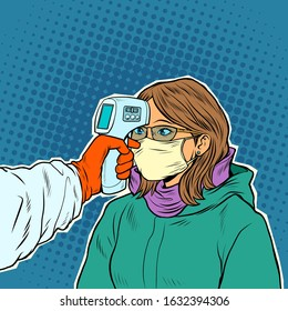 A doctor measures the temperature of a woman in a medical mask. Novel Wuhan coronavirus 2019-nCoV epidemic outbreak. Pop art retro vector illustration 50s 60s style