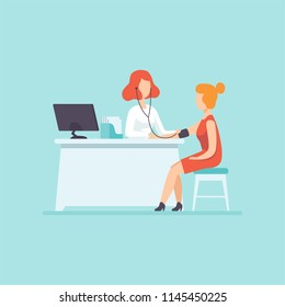 Doctor measuring blood pressure at female patient, medical treatment and healthcare concept vector Illustration