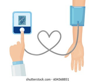 Doctor measuring patient arterial blood pressure. Digital device tonometer. Medical equipment. Diagnose hypertension. Monitoring, checking health. Healthcare concept. Vector illustration. Flat design
