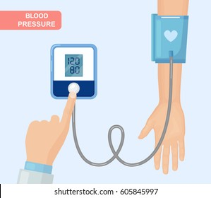 Doctor measuring patient arterial blood pressure. Digital device tonometer. Medical equipment. Diagnose hypertension, heart. Monitoring, checking health. Healthcare concept. Vector illustration.
