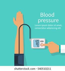 Doctor measuring patient blood pressure. Checking arterial blood pressure digital device tonometer. Healthcare concept. Vector illustration flat design. Medical equipment. Monitoring health.