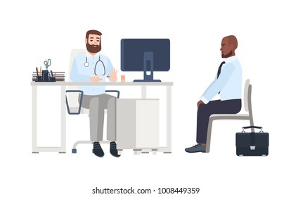 Doctor or medical adviser sitting at desk with computer and giving consultation to male patient. Man at physician's office, clinic or hospital. Colorful cartoon vector illustration in flat style.