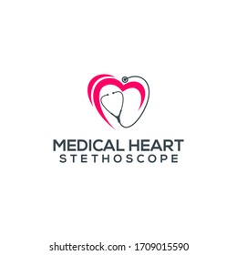 Doctor Medical Heart Stethoscope Logo Template Vector