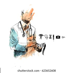 Doctor with medical Icon, Hand Drawn Sketch Vector Background.