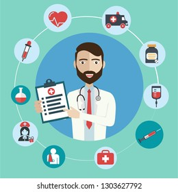 Doctor with medical icons in a circle. vector illustration.