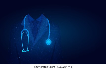 doctor in medical lab coat with a stethoscope.Doctor in hospital background with copy space. low poly wireframe.