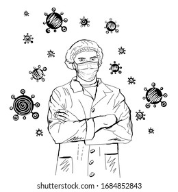 Doctor in a medical mask, and a coat. Flying viruses and coronaviruses above the head. Medical staff. Isolated illustration on a white background. Hand drawn line vector sloppy sketch.