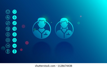 Doctor or medical specialists vector round icons woman and men, Avatar of  the male and female  medical personnel or assistances. Set of icons healthcare.