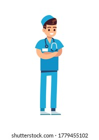 Doctor medical staff. Male physician in blue uniform and stethoscope, pediatrician or nurse standing and smiling, flat vector cartoon isolated character
