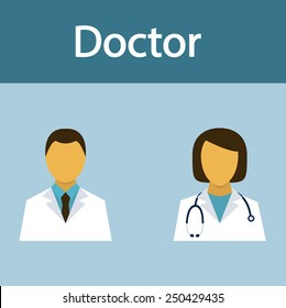 Doctor, medical staff, occupation, people, flat icon, vector.