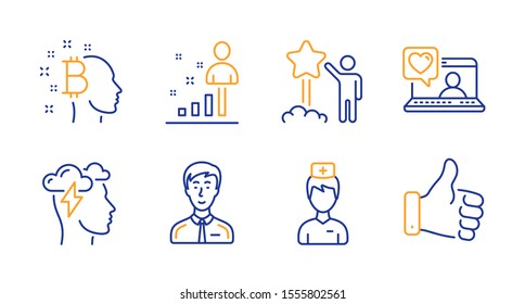 Doctor, Mindfulness stress and Bitcoin think line icons set. Businessman person, Star and Friends chat signs. Stats, Like hand symbols. Medicine person, Cloud storm. People set. Vector