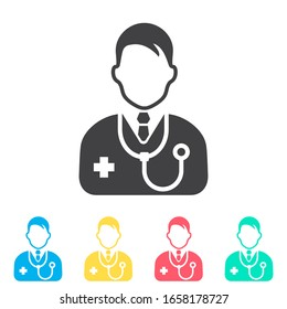 Doctor multi color icon set. Simple glyph, flat vector of medical icons for ui and ux, website or mobile application