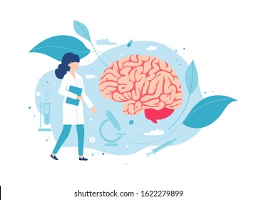 Doctor neurologist or neurosurgeon examines the brain.