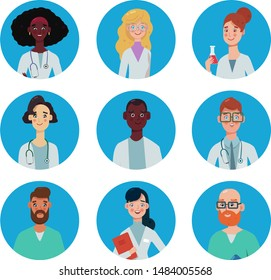 Doctor and nurse avatars, medical insurance, modern flat vector concept digital illustration.