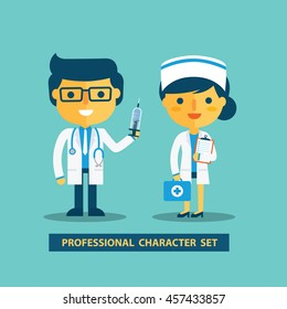 Doctor and nurse character set.Vector