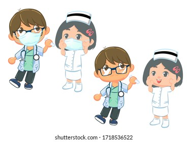 doctor and nurse character vector