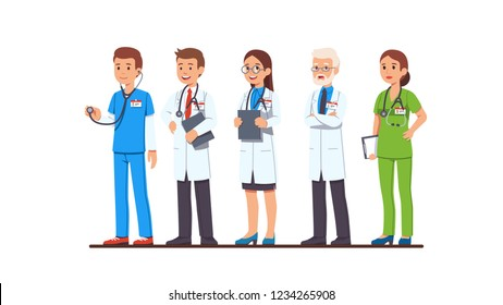 694526c4c78a3 Cartoon vector characters of different professions. Doctor and nurse  characters set. Full length man and woman doctors wearing uniform, white