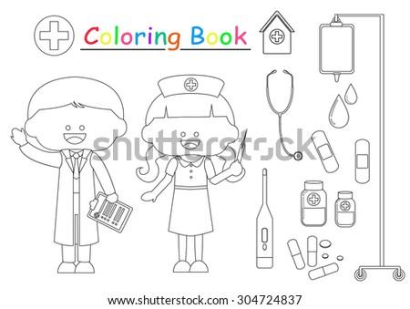 Doctor Nurse Coloring Book Stock Vector (Royalty Free) 304724837 ...