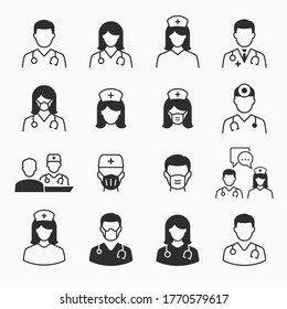 Doctor and Nurse icons set. Vector illustration for web sites and mobile application.