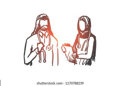 Doctor, nurse, Islam, medicine, clinic concept. Hand drawn muslim doctor and nurse in clinic concept sketch. Isolated vector illustration.