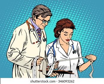 Doctor and nurse looking cardiogram pop art retro style. Medicine and health, heart disease