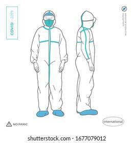 Docteur, infirmière, un homme en complet costume de protection corporelle. Équipement de protection individuelle contre les virus et les pesticides. Novel Coronavirus 2019. 2019-nCoV.Vidéo-19.