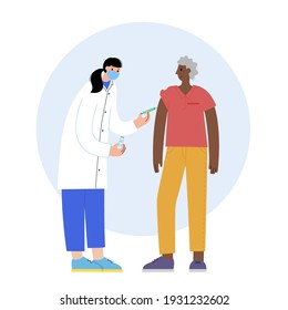 Doctor or nurse in medical office vaccinates a senior man. Global vaccination concept against coronavirus, flu, other viruses, infections or diseases. Syringe with medicine flat vector illustration