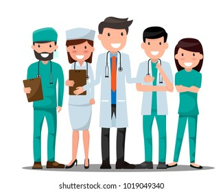 Doctor and nurse medical set in various pose for advertising or presentation. Health care concept vector illustration. Healthcare Providers.