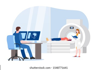 Doctor and nurse prepare for magnetic resonance imaging scan of patient. Vector flat cartoon illustration of hospital lab equipment. MRI medical modern diagnostic concept.