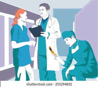 Doctor and nurse sending and receiving information in real-time environment