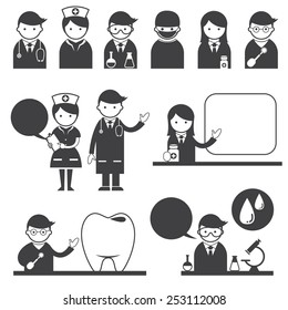 Doctor and nurse Symbol Icons Set
