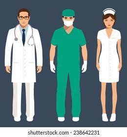 doctor and nurse team, hospital staff people, vector medical icon illustration