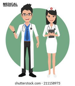 Doctor and Nurse. Vector illustration of a smiling doctor and nurse