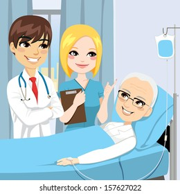 Doctor and nurse visit a senior old man patient lying down on hospital bed receiving intravenous chemotherapy cancer treatment