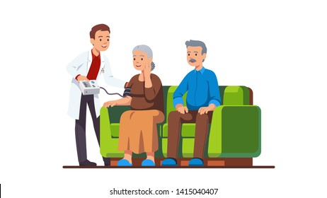 Doctor or nurse visiting elderly people family couple and measuring blood pressure of woman. Old grandmother receiving help & care in monitoring her health at home. Flat vector character illustration