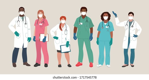 Doctor and Nurse wearing Face Mask and Medical Gloves. Medical people profession modern vector flat illustration. Doctor and hospital staff cartoon characters.