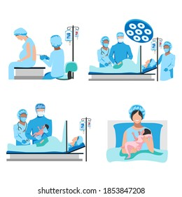 The doctor and nurses perform a caesarean section under epidural anesthesia. Surgery. Obstetrics and gynecology. Thanks to the doctors and nurses. Birth of a child. Set of vector illustrations isolate