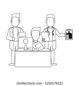 doctor office concept black and white