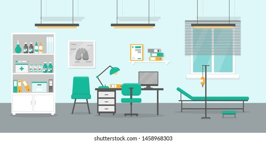 Doctor office flat vector illustration. Doctor's consultation room interior.