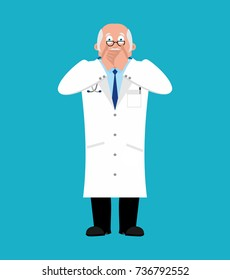 Doctor OMG. Physician fear dread. Vector illustration