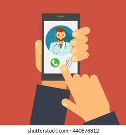 doctor on call and an online consultation. flat vector